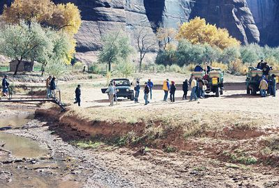 11/13/99 Jeep tours with Navajo guides on floor of Canyon del Muerto (only four-wheel drive vehicles are allowed in the canyons and each vehicle must be accompanied by an authorized Navajo guide), Canyon de Chelly National Monument. Chinle, Apache County, AZ