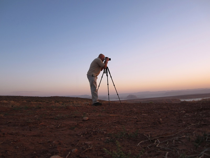 Waiting for the sunrise over Navajo Nation land in Page, Arizona.