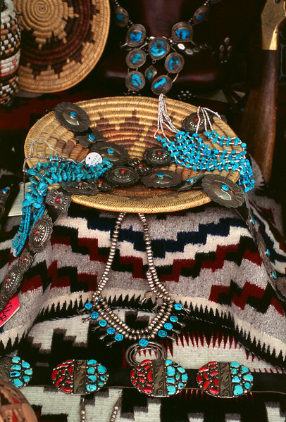 Turquoise and silver jewelry, Pawn shop window, Gallup, NM, 2003