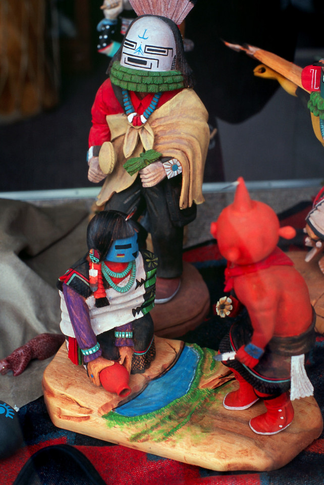 Kachinas in pawn shop window, Gallup, New Mexico, October, 2003.