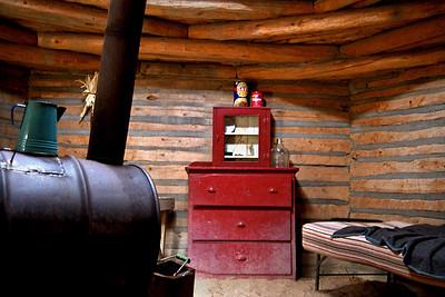 Hogan interior, Navajo Tribal Park, Window Rock, Arizona. October, 2003.