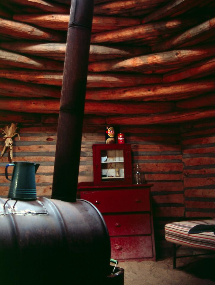 Hogan interior. Navajo Tribal Museum, Window Rock, Arizona, October, 2003.