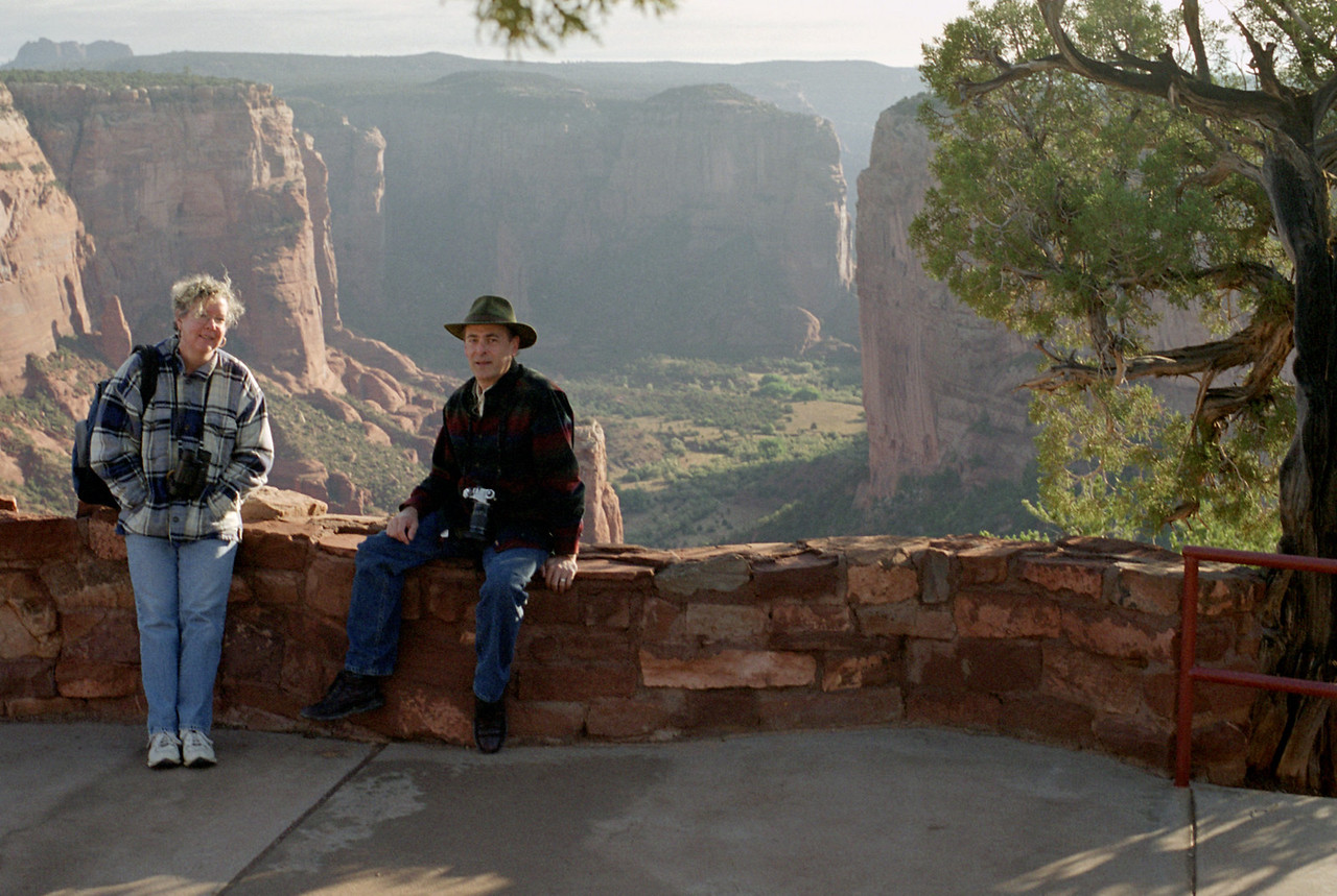 Rita and Gary on the rim of Canyon de Chelly, Arizona. October, 2003.