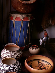 Pots and blue drum, pawn shop window, Gallup, New Mexico. October, 2003.