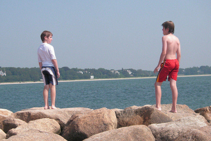 Jacob and Anthony at Dowses Beach