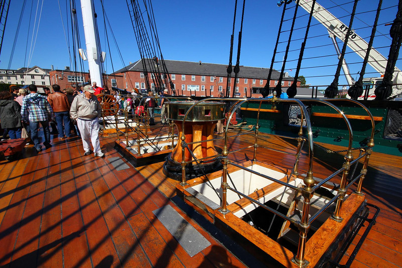Deck of USS Constitution. It is still a commissioned ship of the U.S. Navy and has active, current Naval personnel in charge of it.