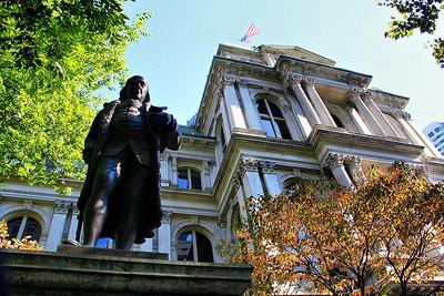 Benjamin Franklin monument in Boston, Mass.