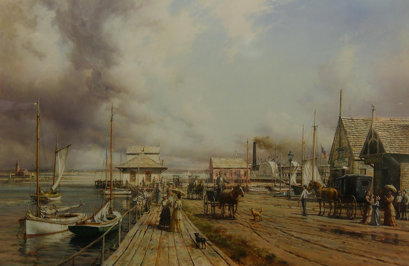 Nantucket Island, at one time a major U.S. port, is just off the coast of Cape Cod to the south. This is an artist's rendering of how Nantucket looked in 1900.