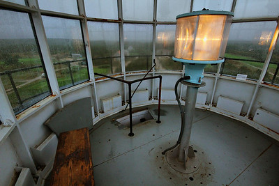 Inside the Highland Lighthouse in North Truro, Mass. The actual light bulb is tiny and only burns 25 watts. The magic is in the lens.
