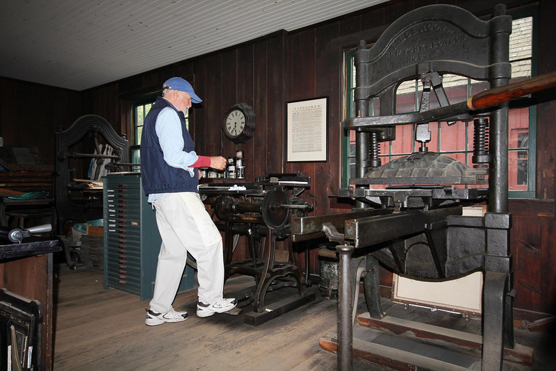 The printer was busy making flyers using the vintage typeset that we are familiar with from seeing old Colonial notices and announcements in textbooks. All machines were powered by hand or foot.