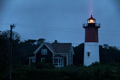 The Nauset Lighthouse in Eastham, Mass. One of 15 lighthouses on Cape Cod. Not all are as accessible as this one. It is raining here.
