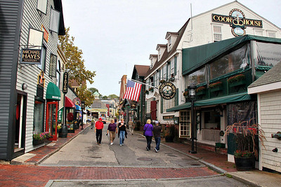 Lots of shopping is available in Newport, R.I. This is just a few feet from the docks. Jennifer is in the purple sweater with Greg at her side.