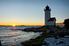 Wigwam Lighthouse, in Ipswich Bay at the mouth of the Annisquam River, at sunset. This is located in Gloucester, Mass., but it is on the other side (north side) of the peninsula from the seafarer's monument.