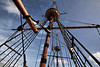 Mayflower II mast and rigging. The ship is completely seaworthy.