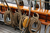 "Rope detail of the ""Amistad sailing ship at Mystic Seaport. Seeing the size and complexity of all the rigging up close makes you realize how much physical work it takes to operate a large sailing ship. It looks like a maintenance headache, too."