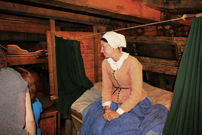 Several period actors in full dress and character were on the Mayflower II and answered questions. This woman was excellent and up to the task with a perfect British accent and seemingly limitless information. She claimed her family of four slept on the bed she sits on, with two servants sleeping below it! Over 100 people made the voyage on the relatively small vessel.