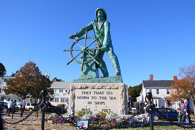 Plaques here in Gloucester, Mass. show that in the 300 years after 1623, 5300 seamen were lost to the sea in accidents and storms. Incredibly, 3880 of them died in the 47 year span of 1860 and 1906. Bronze plaques around the statue hold the names of every one of them and the year they were lost.