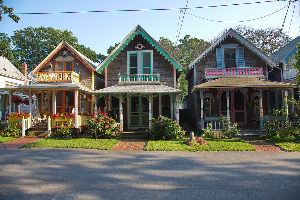 842 Gingerbread cottages in Oak Bluffs on Martha's Vineyard.
