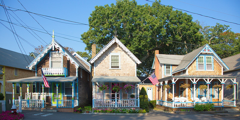 850 Gingerbread cottages in Oak Bluffs on Martha's Vineyard.