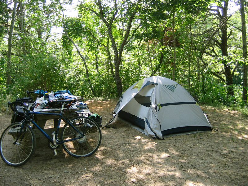 Bike, tent, gear.  Somewhere on Cape Cod, MA.