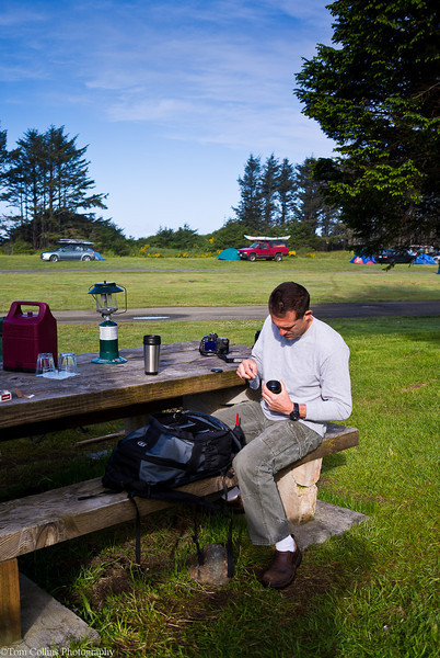 George getting ready for a day of photography, camped at Hobuck Beach Resort just south of Cape Flattery.<br /> 11
