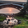 Sunset through the bridge