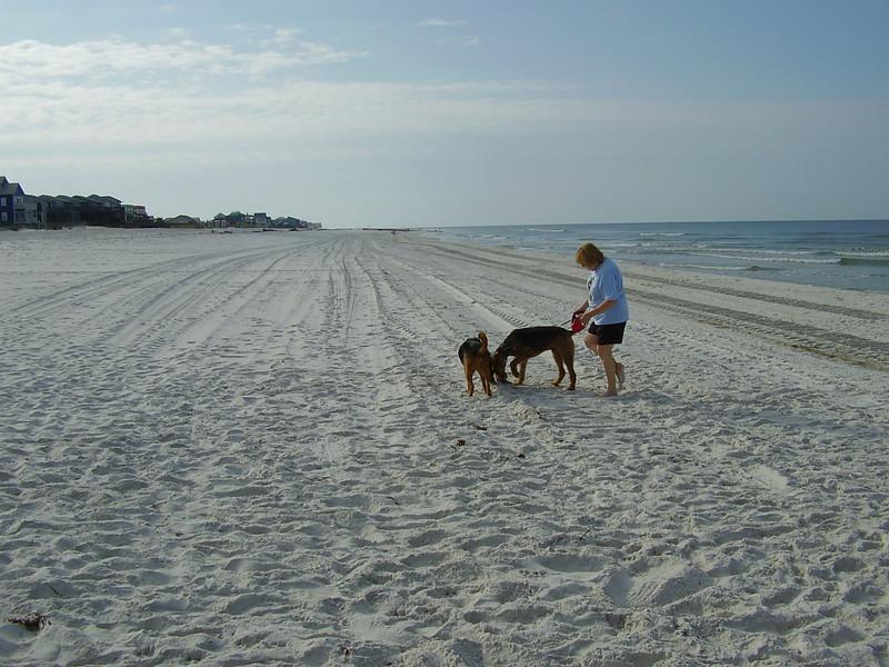 Jackie, the boys, and an empty beach.