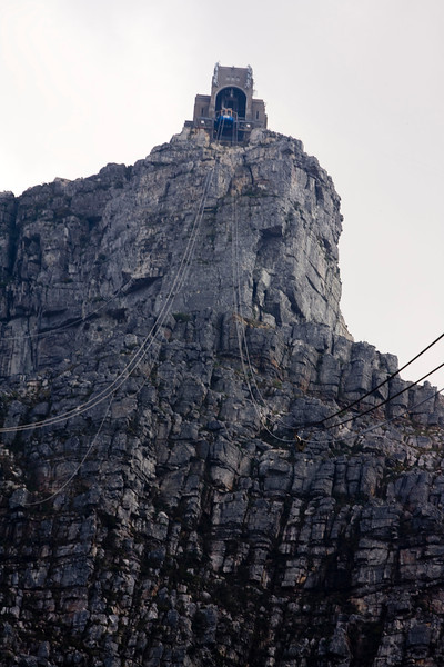 View from the cable car heading up Table Mountain.