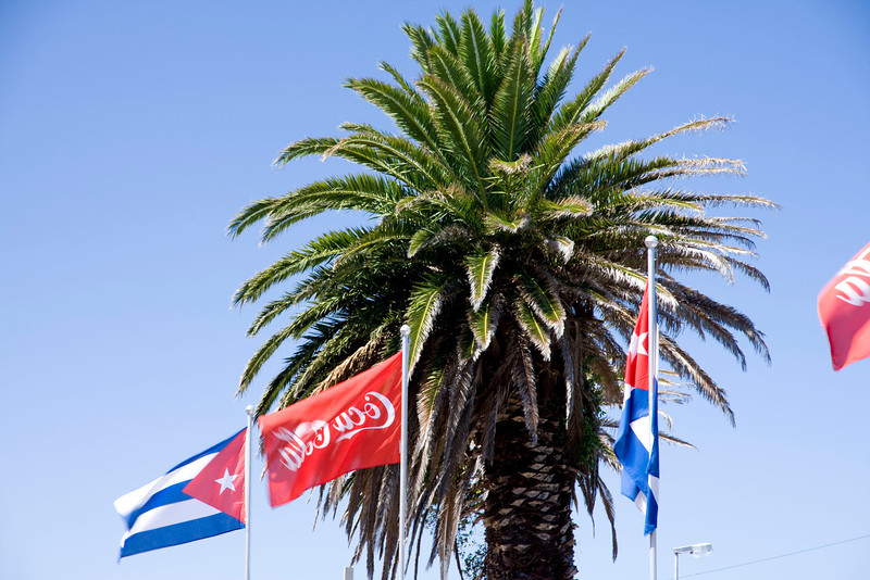 A Cuban restaurant hung these flags. I'm very amused by the combination of Cuban & Coca Cola flags.