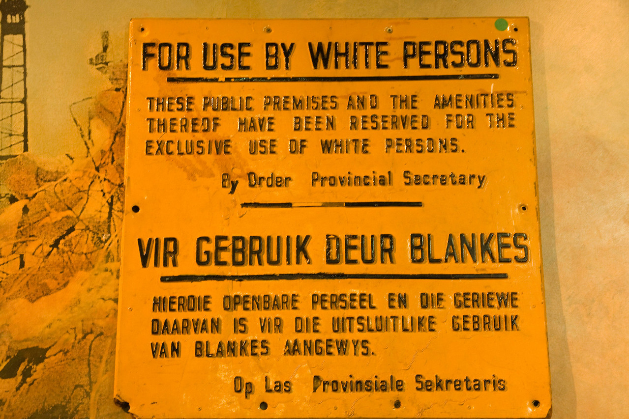 At the District 6 museum. District 6 was a neighborhood in Cape Town which was defined a Whites Only area during the 1970's. Over 60,000 residents (who were poor, black and colored) were forcibly removed from their homes and moved outside of Cape Town. The entire neighborhood was then razed, but nothing was ever built there.