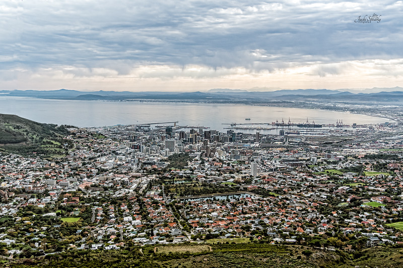 20190514-173 Cape Town Table Mtn, Cable Car Down, View out V & A Waterfront and Northern view of city