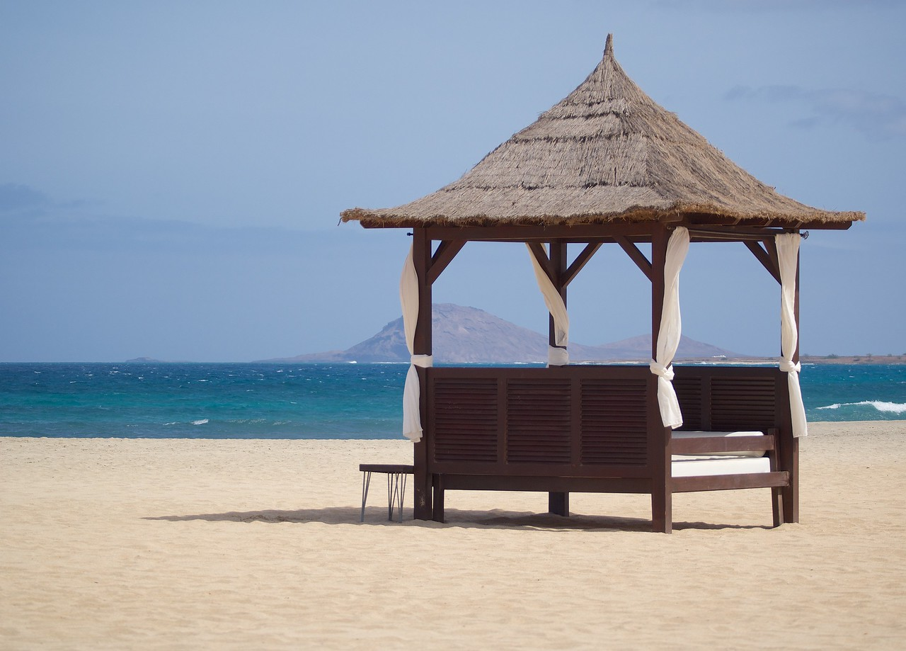 The ultimate in relaxation, a Bali bed at Melia Tortuga beach, Sal, Cape Verde.