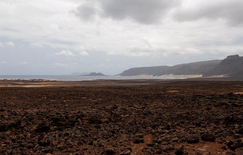 Sao Vicente: Baia das Gatas on L, Ponta Calhau at centre, Santa Lucia in far distance.