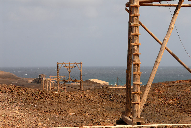 Pedra de Lume: the aerial ropeway climbed over the crater wall and down to the sea.