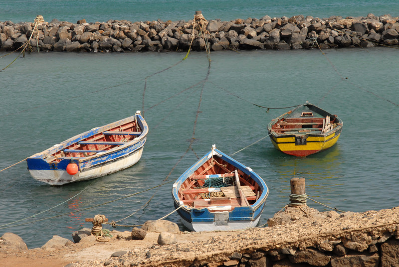 Fishing boats in harbour at Pedra de Lume