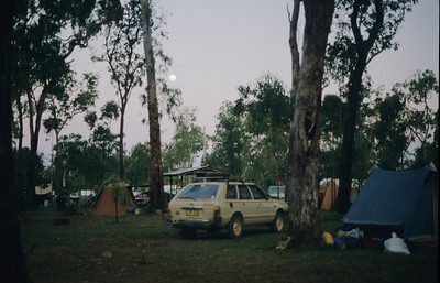 Campsite at Weipa caravan park. We were here for a week while we waited for parts to be flown in for Geoff's Subaru.