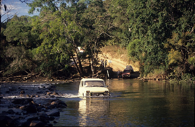 Geoff's Lada crossing the Bloomfield River.