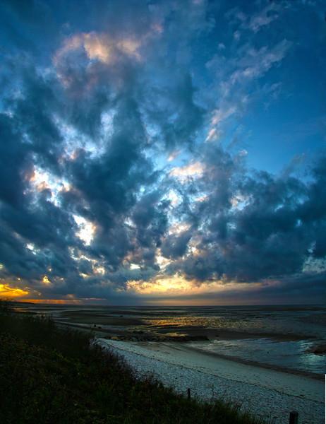 sunset, tidal flats
