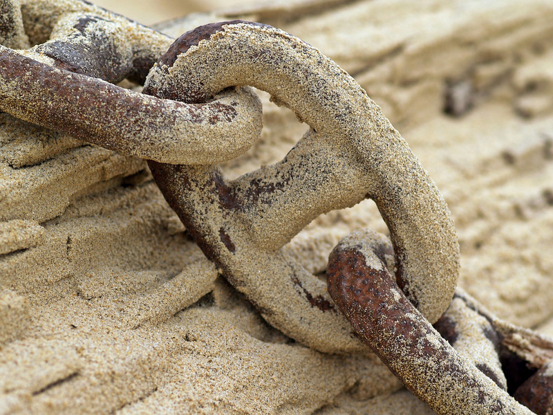 Sand blasted chain once used to anchor the Marconi tower for the first transmissions across the Atlantic.  This is all that remains.