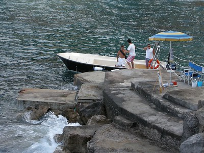 our tender boat at LaGavitella beach; on way to Capri
