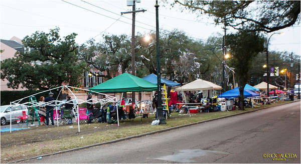 Families stake out their place on the tracks of the St. Charles streetcar line before a parade begins later in the day.
