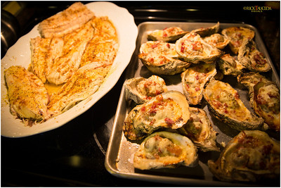 Southern home cooking with fried Redfish and baked oysters on the half shell.