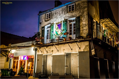 During the Mardi Gras season, homes and businesses decorate their balconies and porches.