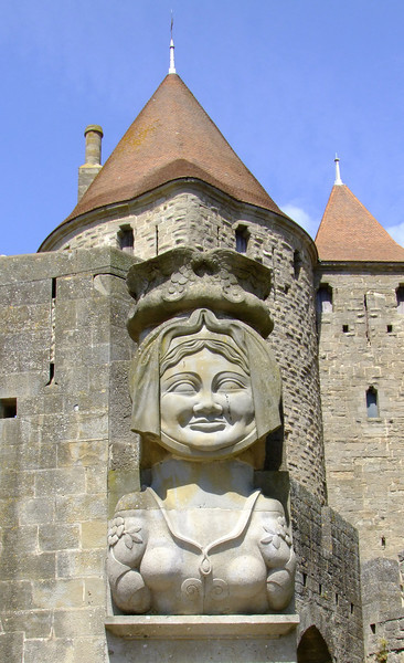 A modern statue of Lady Carcas - who defeated Charlemagne's 5 year seige of the fortress