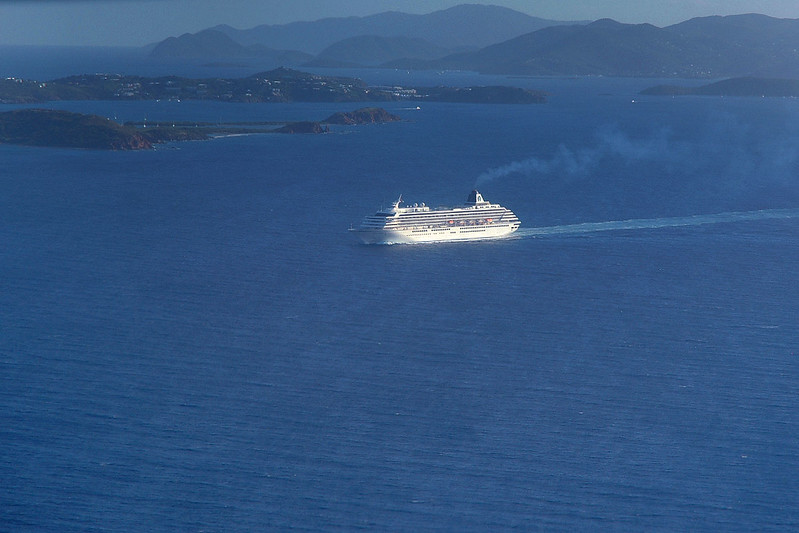 A cruise ship on it's way to St Thomas.
