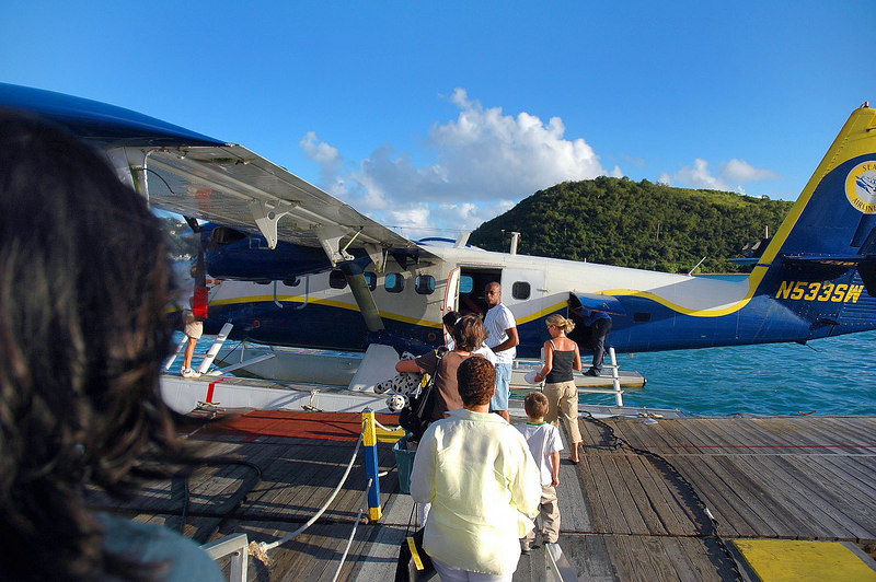 Boarding the seaplane for the short flight back to St Croix.