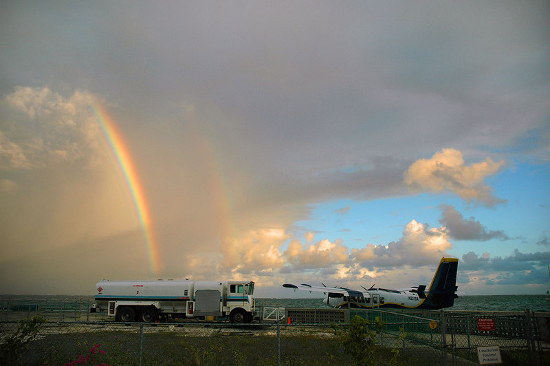 A twin rainbow at the seaplane dock.