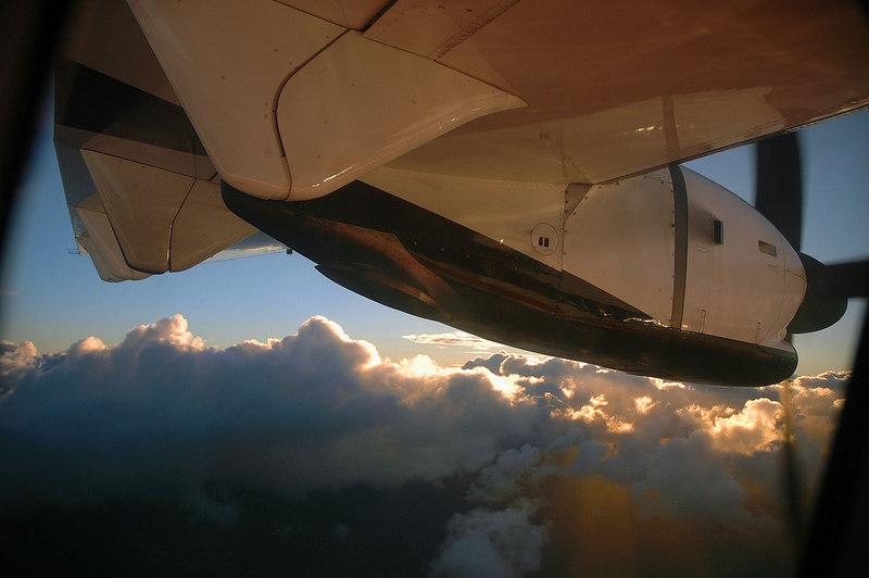 On the flight back to San Juan.