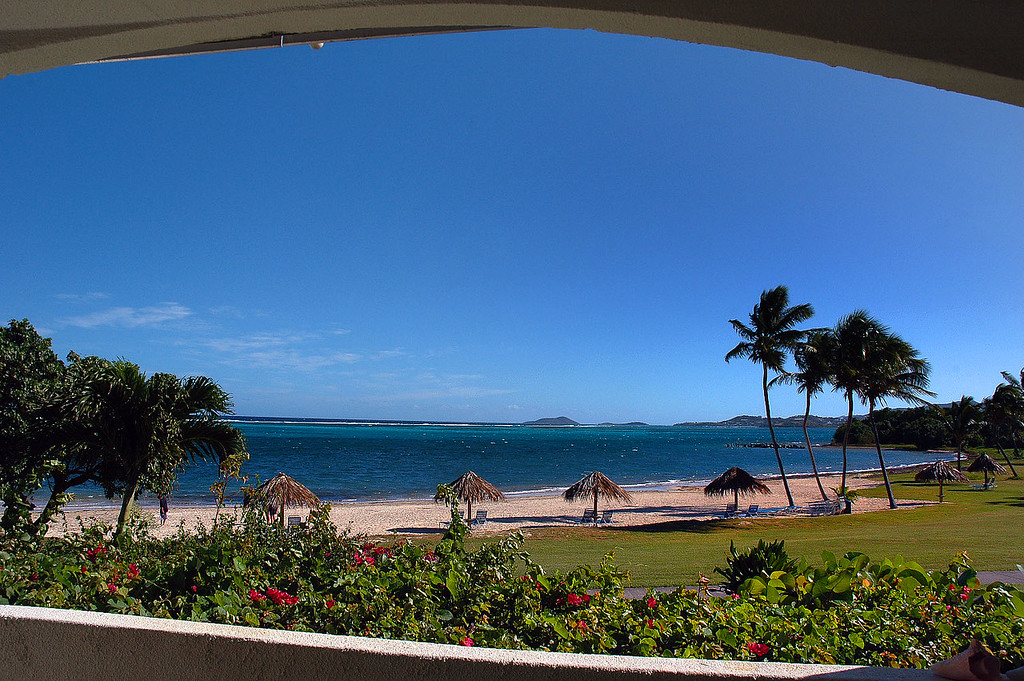 The view of the beach from the patio.