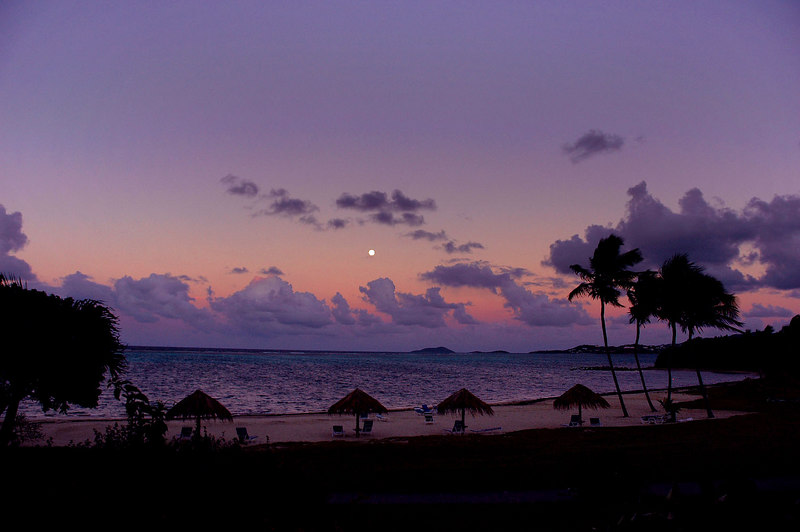 The moon rises just after sunset.